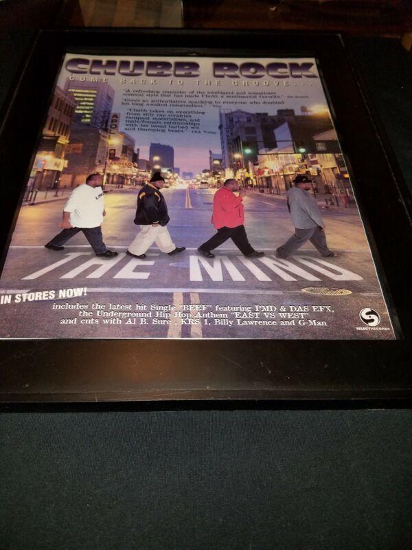 Chubb Rock Beef Rare Original Promo Poster Ad Framed!