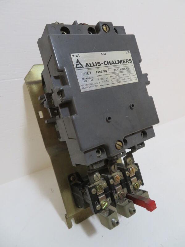 Allis Chalmers Size 4 25-114-000-501 Motor Starter 120V Coil 100 HP 150 Sz4