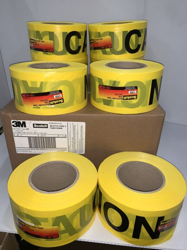 3M 300-Y-3X1000FTX2MIL Barricade Marking Tape,3In W,Yellow,PK8