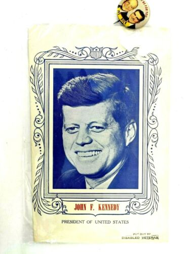 Vintage 1960s JFK John Kennedy Promo Photo Picture 7x9 & Nixon Ike Pin