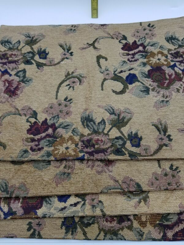 4 Tapestry Table Placemats  Tan With Floral Print