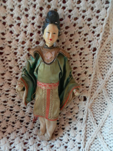 ANTIQUE COMPOSITION PAPIER MACHE ASIAN CHINESE DOLL ON STICK EARLY 1900