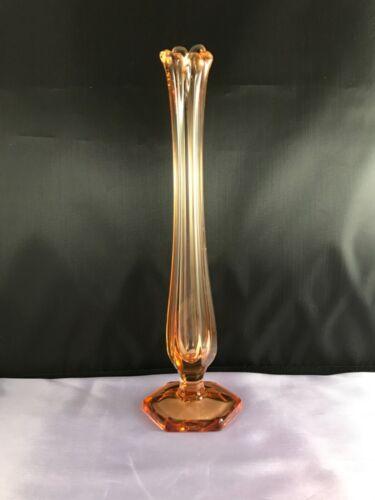VINTAGE WESTMORELAND GOLDEN SUNSET GLASS FOOTED SWUNG VASE HEX BASE