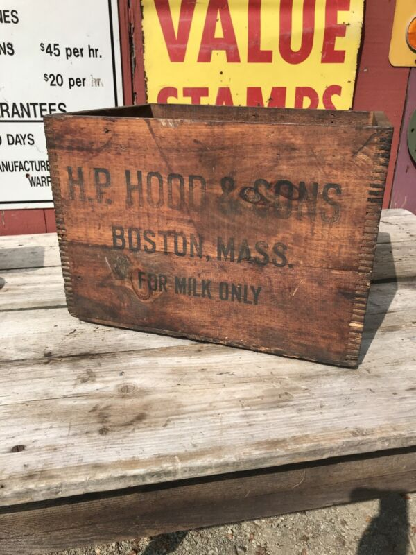 "H.P. Hood Sons Boston MA Crate 16.5"" Rare 50s Milk Dairy  Box Vtg Rustic Wood"