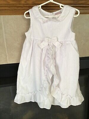 Girl's Lovely White Floral Embroidered Dress, Okie Dokie, Size 5, EUC