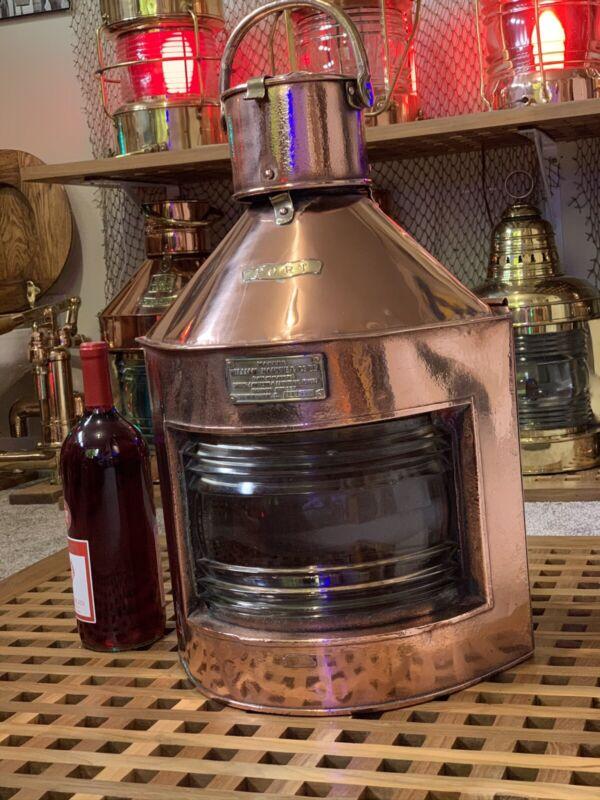 Antique Nautical W. Harvie Meteorite Port Ship Lantern Lamp Copper & Brass