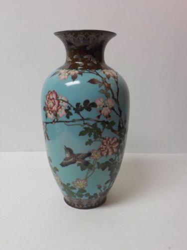 """19th C. Japanese Cloisonne Enamel on Bronze 12"""" Vase, Flowers & Birds"""