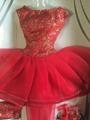Barbie Party Dress Fashion Avenue Red Gold Shoes Bag Box