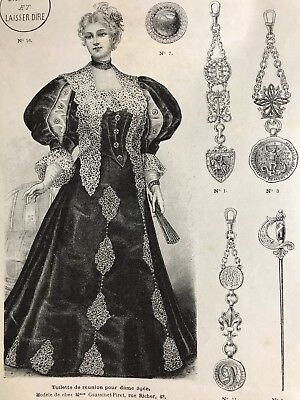 MODE ILLUSTREE SEWING PATTERN Dec 8,1895 BALLGOWNS