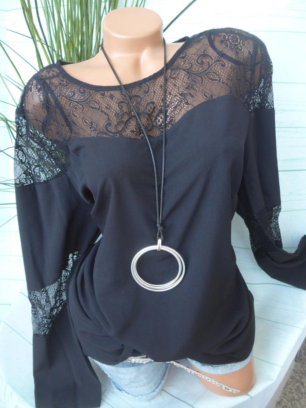 Amy Vermont Shirt Bluse Gr. 36 bis 48 schwarz mit Spitze (382) NEU