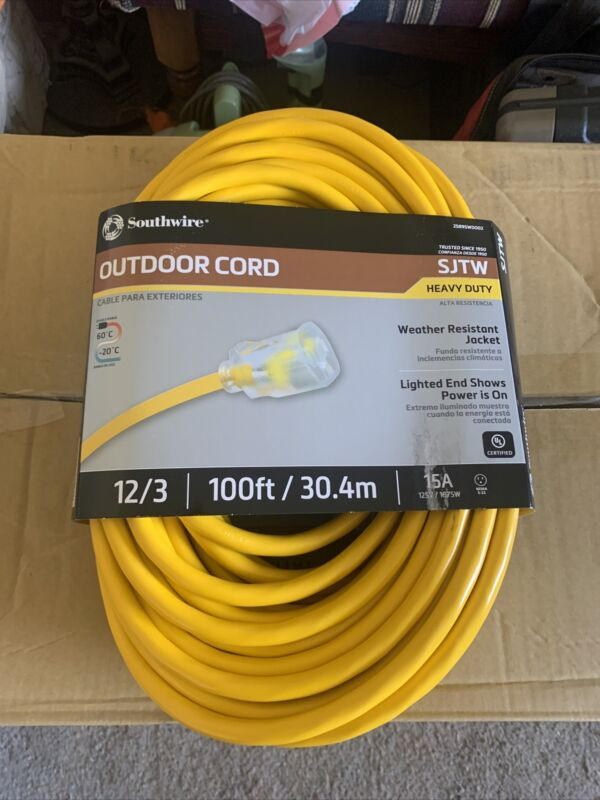 Heavy Duty Extension Cord Hi Visibility 100 ft Power Light Plug Yellow 12/3 SJTW