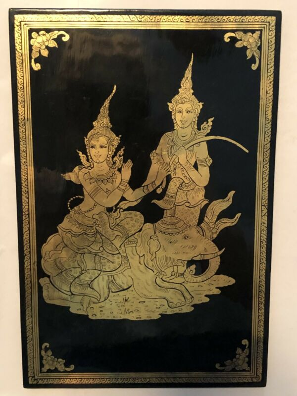 MCM DECORATIVE BLACK LACQUER Wall Plaque Hanging GOLD THAILAND SIAM Elephant
