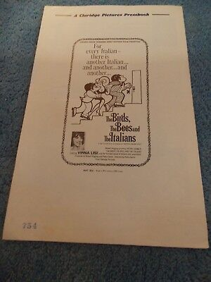 THE BIRDS THE BEES AND THE ITALIANS(1967)VERNA LISI ORIGINAL PRESSBOOK