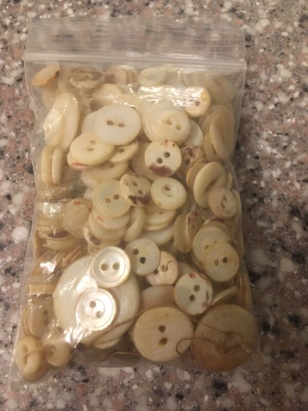 Lot 300 small Antique/Vintage MOP Pearl Shell Sewing Buttons 2-hole sew thru