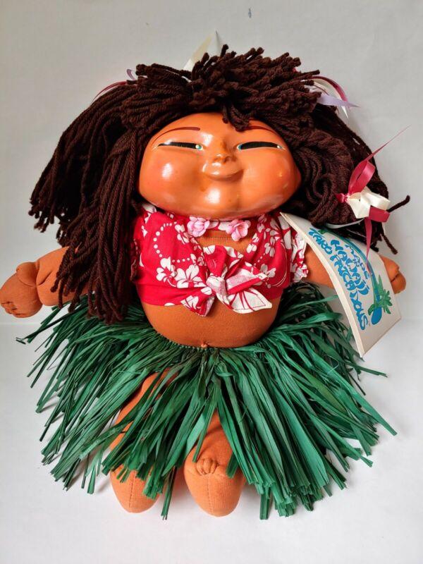 "Hawaii Taro patch Dolls wooden and cloth hula skirt 16"""