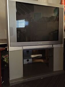 32 inch Toshiba Flat Screen Tube TV on stand
