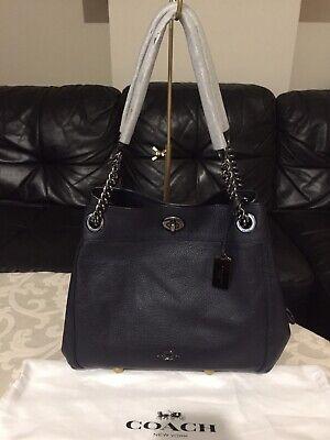 🌺Coach Large shoulder tote bag In Navy leather EDIE turnlock (turnkey),