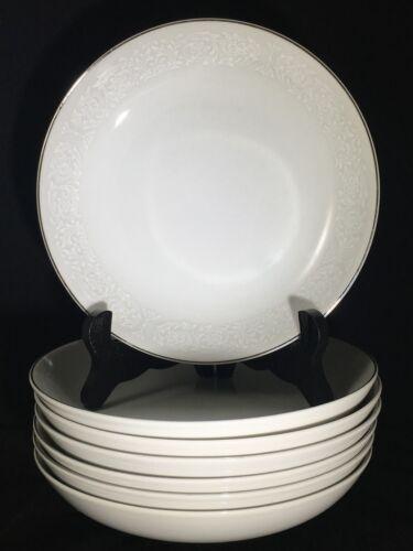 """7 Carlton Japan Plymouth 303 White Floral & Silver Trim 7 5/8"""" Coupe Soup Bowls"""