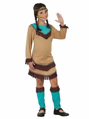 Squaw du Far West Kostüm in Blau und Beige für Mädchen Cod.304568