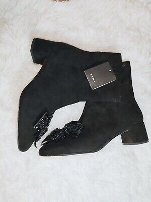 ZARA black suede ankle booties with beaded bows size 6