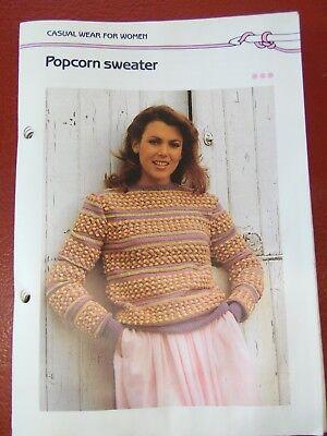 Free Knitting Pattern Stitches (Women's Popcorn Stitch Sweater crochet/knit PATTERN INSTRUCTIONS FREE SHIPPING )
