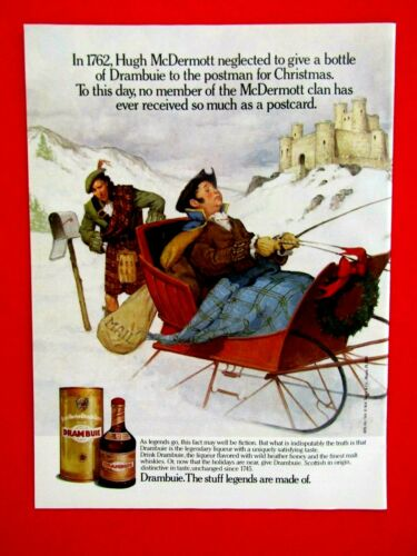"Hugh McDermott & The Postman 1990 Gold Drambuie Original Print Ad 8.5 x 11"""
