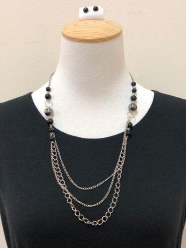 Women Beautiful 2 Piece Silver Tone Black Beaded Frontal Necklace & Earring Set