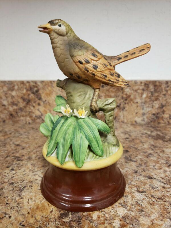 Vintage Robin Figurine Enesco Music Box made in Korea