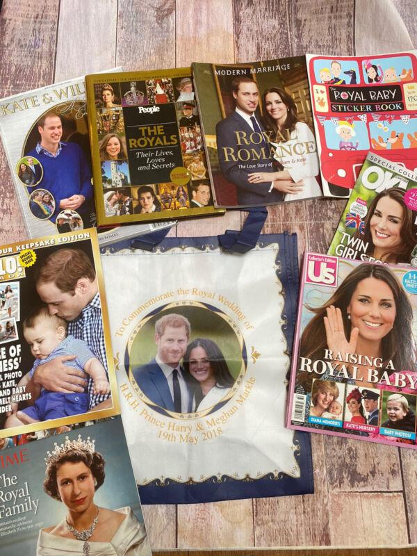 Royal Family Memorabilia & Books lot William Kate Harry Megan Queen Elizabeth