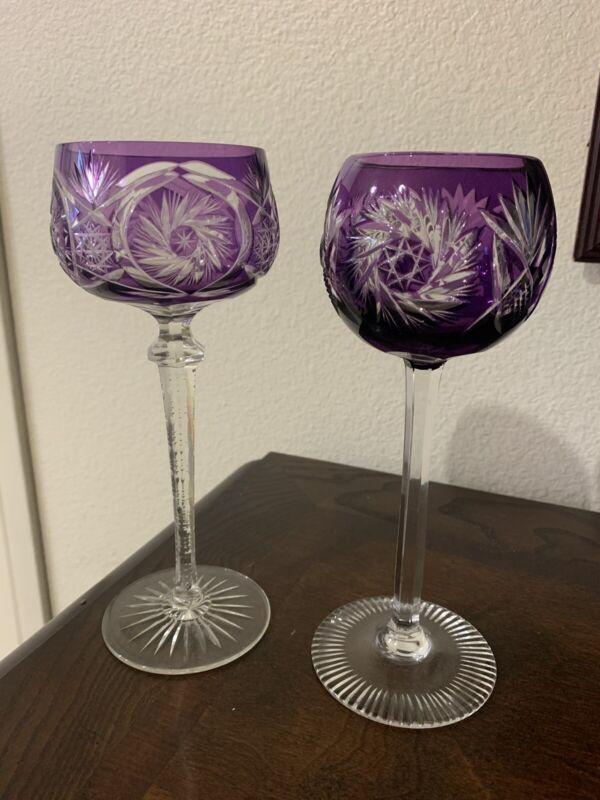 2 Vintage Violet Color Bohemian Hock Cut Crystal Wine Glass Goblets pre-owned
