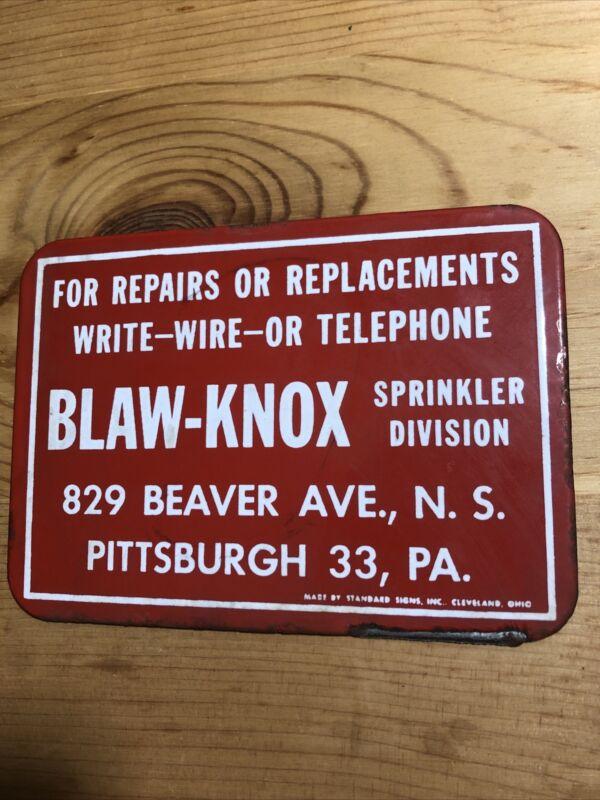 Blaw-Knox Sprinkler Division Porcelain Sign Pittsburgh PA