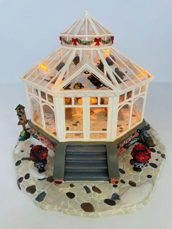 Heartland Valley Village Deluxe Porcelain Lighted Glass House w/LED Lights Works