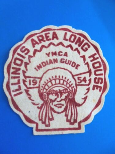 Large Vintage 1954 YMCA Indian Guides Illinois Area Long House Felt Patch
