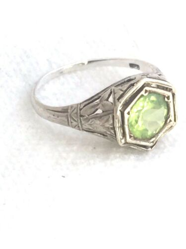 Vintage Sterling Silver Green Ring Size 5.25 1.8g Art Deco