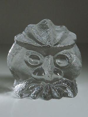 ROYAL KRONA,EULE,Relief,Tierfigur,Kristall,Höhe 10 cm,Schweden,Briefbeschwerer
