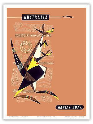 Australia Kangaroos Aboriginal Art Qantas Vintage Art Poster Print