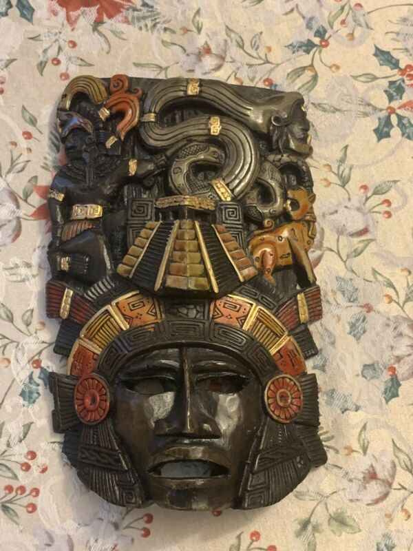 Vintage Ceramic Mask Ritual Tribal Folk Art Mexico Aztec Mayan Snake Jaguar