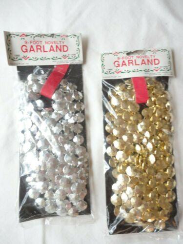 Vtg Plastic Christmas Garland 2 pkgs 9 ft. ea. Gold-Silver Decorating/ Crafting