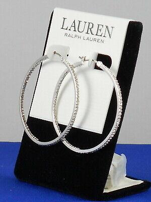 Ralph Lauren Silvertone Pave' Crystal Inside Out Hoop Earrings 60515615 5ZU $42