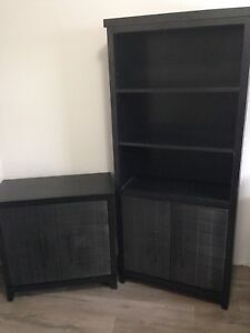 Black pier one book shelf and cabinet