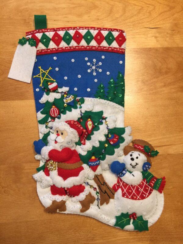 "Pick A Tree - Bucilla 16"" Felt Christmas Stocking Finished - Hand Sewn"