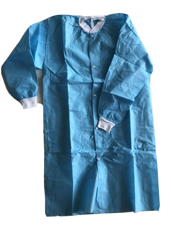 Medical Dental Disposable Lab Coat Gown Blue with Pockets, One Piece, Size Small