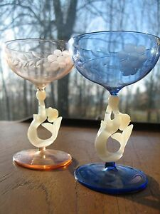 VINTAGE MERMAID CRYSTAL GLASSES FROM DENMARK c1920