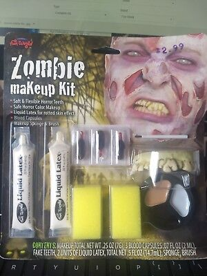 Zombie Liquid Makeup Kit Blood Teeth Easy Costume Halloween Face Painting Party - Easy Halloween Costume Makeup