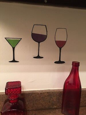 Red Wine Green Martini Glass Set Vinyl Kitchen Bar Wall Decal Free Shipping Sale