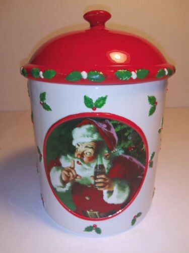 The Coca Cola Company Santa Claus Cookie Jar Red Lid Dept 56 Holly Leaf Clean