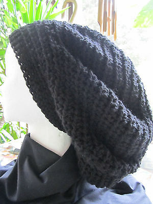 Tam Hat (Handmade Crocheted Rasta Reggae Dreadlocks Tam Beret Slouchy One Size Black)