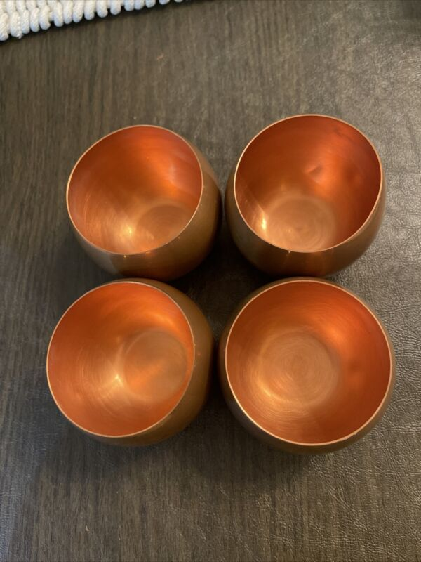 COPPERCRAFT GUILD CG COPPER CUP ROUND DRINK GLASS ROLY POLY MOSCOW MULE SET of 4