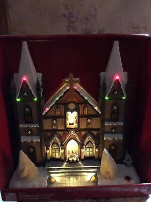 """Home Accents Holiday LED Musical Cathedral Nativity Manger Christmas Village 15"""""""