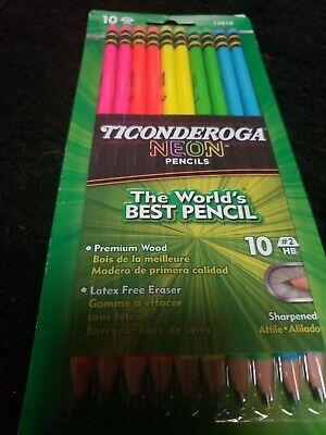 Ticonderoga Neon No 2 Pencils Pre Sharpened Pencil 10 Ct. Brand New